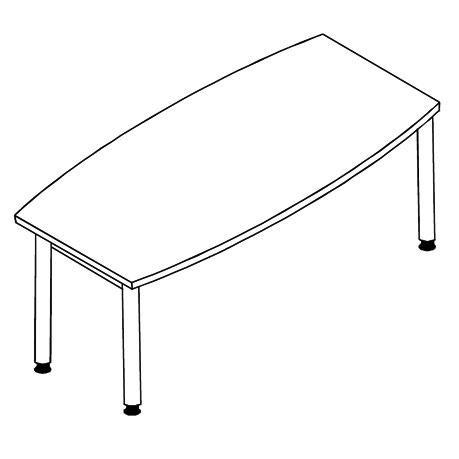 Konferenztisch MODUL Bootsform 220 x 80/100 x 74,5 cm